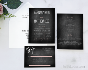 Rustic Chalkboard wedding invitation printable template