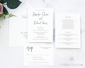 Simple Heart Printable Wedding Invitation Set