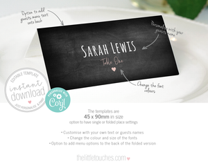Rustic Chalkboard Place Setting Name Card Template