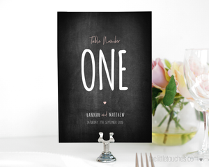 Chalkboard wedding table numbers / names printable templates