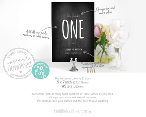 chalkboard wedding table cards printable tamplate