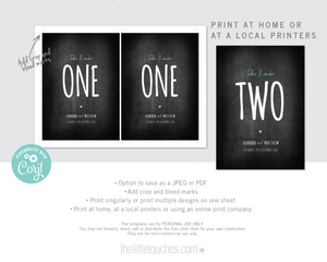 Editable printable table numbers table name card templates