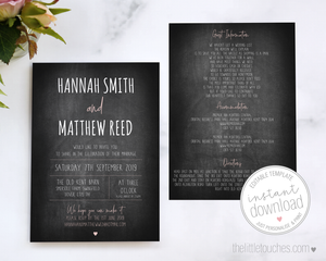 Rustic chalkboard evening invitation template