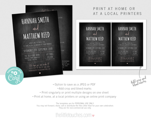 Rustic Chalkboard wedding invitation template