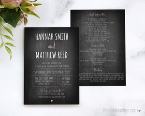 Chalkboard wedding Invitation printable template