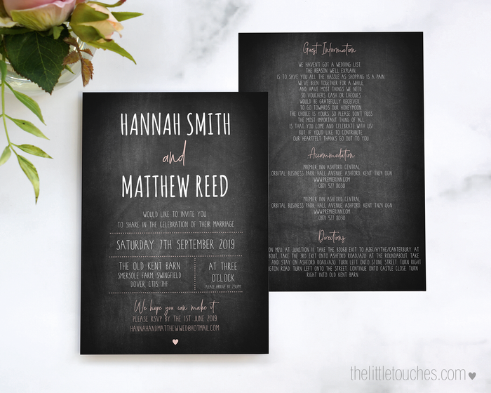 Chalkboard Printable Single Wedding Invitation