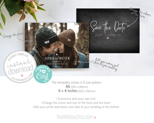 Rustic Chalkboard Photo save the date card template