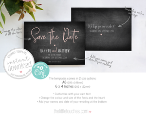 DIY Chalkboard wedding save the date template