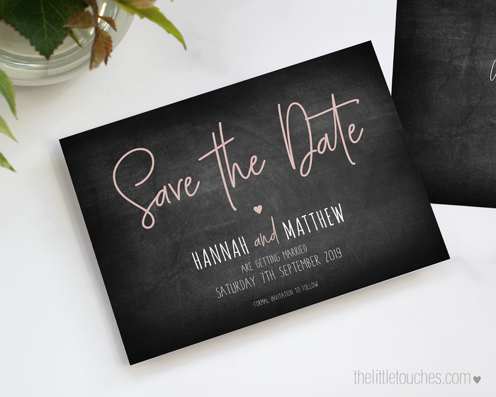 Chalkboard Theme Printable Save the Date Cards