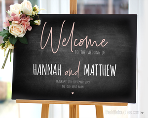chalkboard wedding welcome sign printable template
