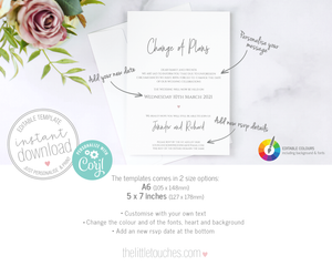 DIY Change of Plans Wedding Announcement Template