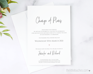 Simple Heart Printable Change of Plans Card