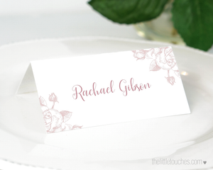Classic Rose wedding place setting template