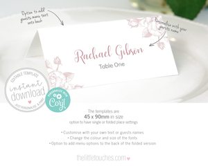 Classic Rose wedding name card template