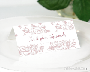 Rose wedding place setting template