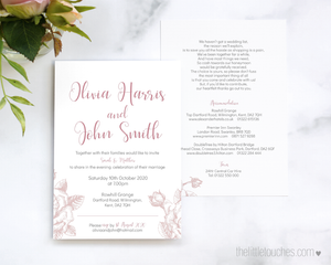 Classic Rose Floral Wedding invitation template