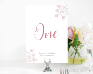 Classic Rose Wedding table number template