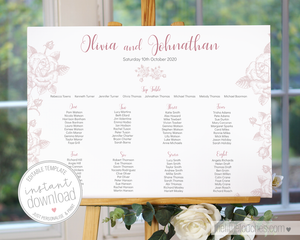 Classic rose printable table plan template