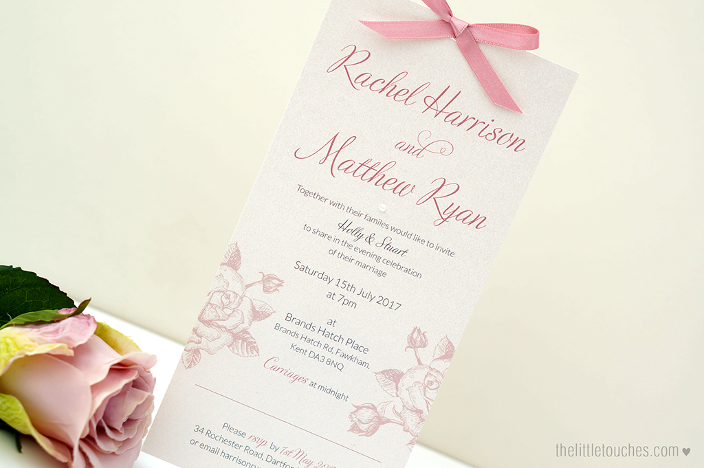 Ivory Rose Long Evening Wedding Invitations - The Little Touches