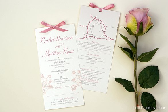 Ivory Rose Long Evening Wedding Invitations