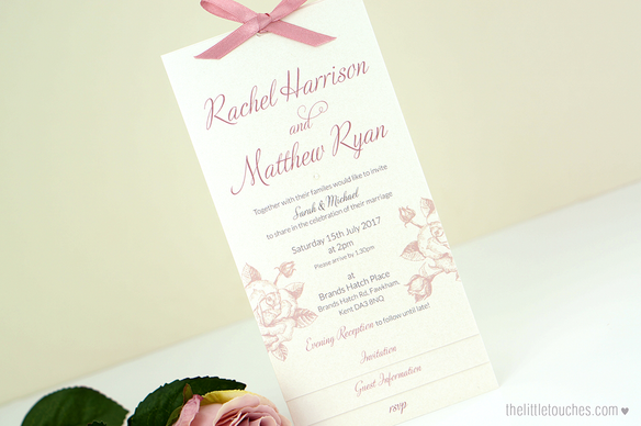Ivory Rose Long Wedding Invitations
