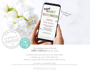 virtual baby shower invitation template for mobile