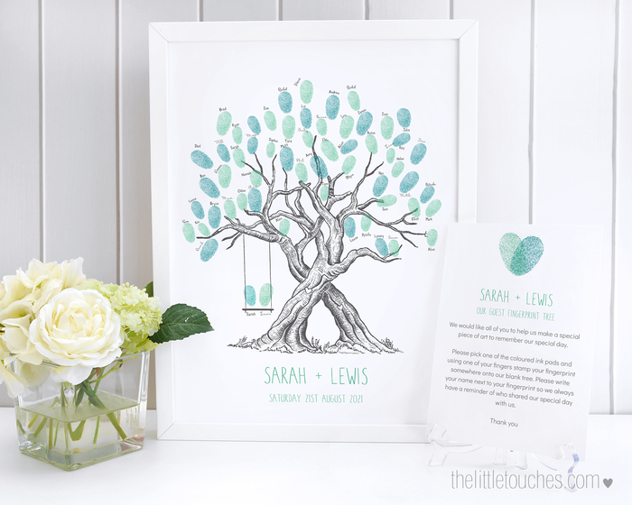Printable Double Fingerprint Tree Wedding Guest Book with Swing