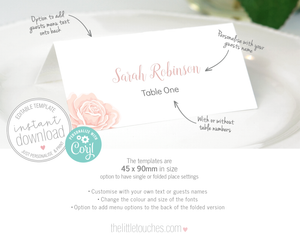 Rose design printable name card template
