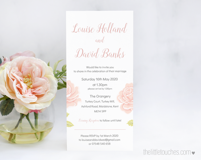 English Rose Printable Single Wedding Invitation