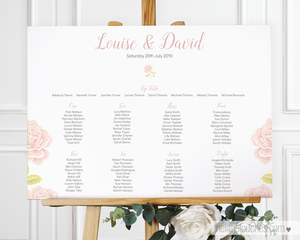 Vintage Rose wedding table plan template