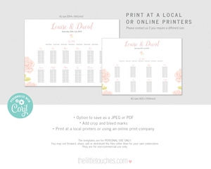 rose design wedding table plan printable template