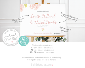 Vintage Rose Wedding Welcome sign printable template
