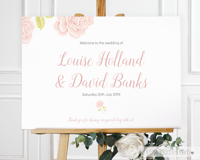English Rose Printable Welcome Sign