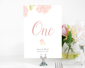Rose design wedding table number printable template