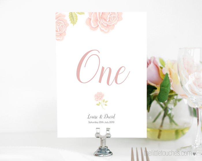 English Rose Printable Table Numbers
