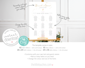 Fairytale Disney castle wedding table plan printable template
