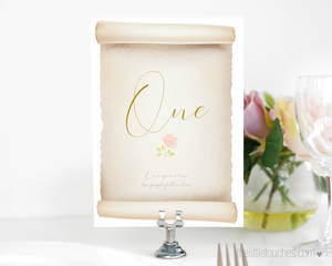 fairy tale scroll wedding table number template
