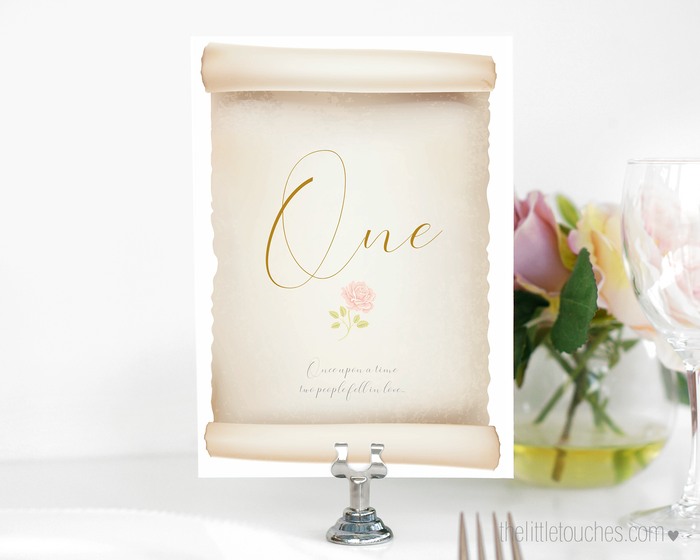 Fairy Tale Rose Scroll Printable Table Numbers