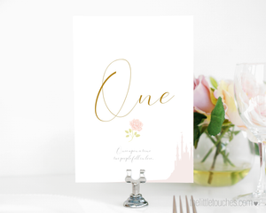 Fairytale beauty and the beast wedding table number templates
