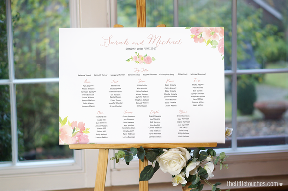 Floral Watercolour Table Plan