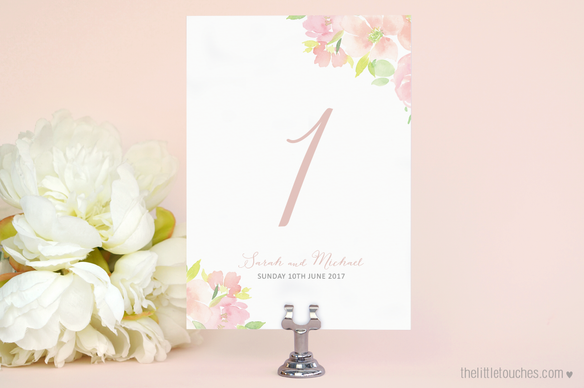 Floral Watercolour Table Numbers