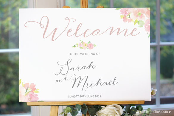 Floral Watercolour Wedding Welcome Sign