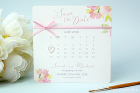 Floral Watercolour Calendar Save the Date Cards