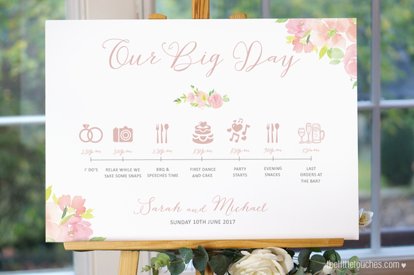 Floral Watercolour Wedding Timeline Sign