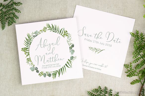 Forest Leaves Save the Date Cards