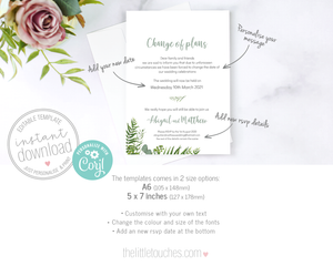 Greenery Foliage Change of plans wedding announcement template