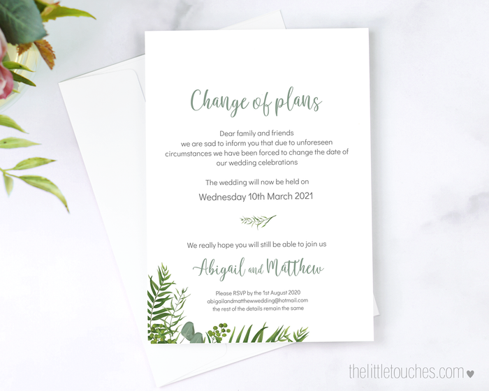 Forest Leaves Printable Change of Plans Card