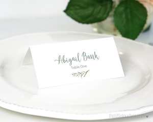 forest leaves printable name card template