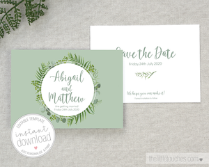 greenery / foliage wedding save the date printable template