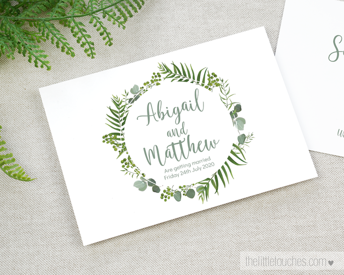 Forest Leaves Printable Save the Date Cards
